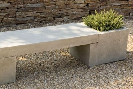 Concrete Bench with Planter