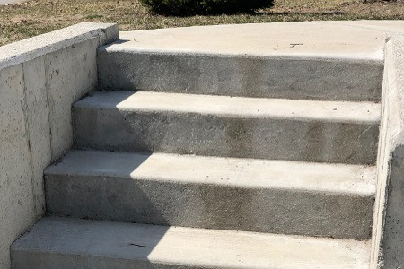 Concrete Steps Built into a Retaining Wall